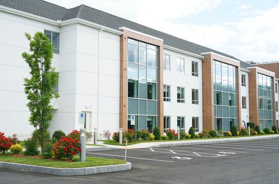 exterior view of modern rental apartment buildings