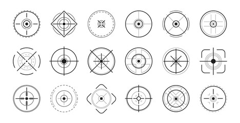 Focus on aim set. Sniper target navigation for shooting, optic crosshair. Vector illustrations for target audience, weapon, military, shooting game, accuracy topics