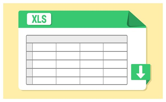 Vector of Speadsheet icon. XLS, or XLSX file format icon with landscape design.