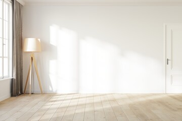 Blank white wall with a light from the window. Room mock up with a white wall, wooden floor lamp, white door and wooden floor. 3D illustration.