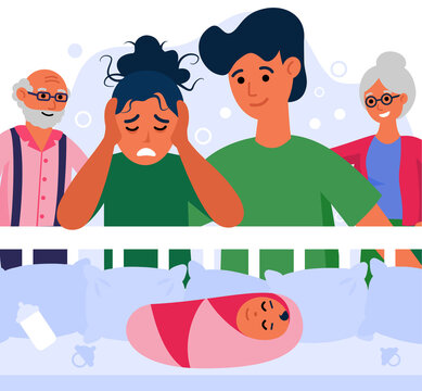 Happy family and woman suffering from post natal depression. Couple and grandparents at baby crib flat vector illustration. Post natal depression concept for banner, website design or landing web page