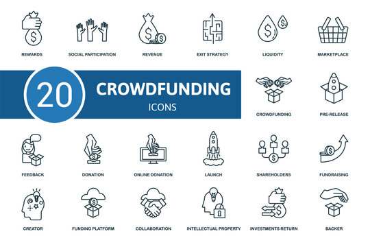 Crowdfunding icon set. Collection contain crowdfunding, creator, pre-release, fundraising and over icons. Crowdfunding elements set.