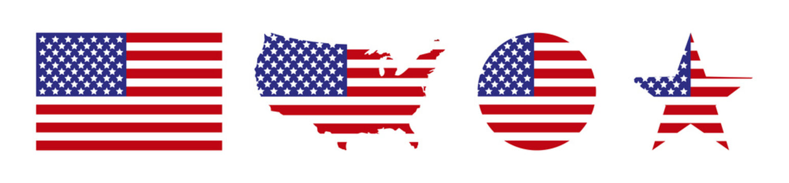 America. USA map with flag america. USA. Star with flag america. USA map with star and flag in circle, isolated. Vector illustration