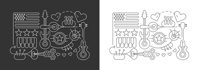 Line art isolated on a dark grey and on a white background USA Independence Day vector illustrations. Celebration of Fourth of July, July 4th.