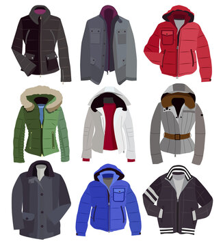 collection of warm winter jackets (vector illustration).