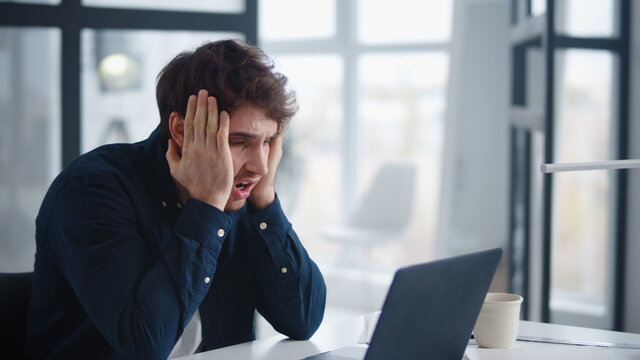 Businessman getting bad results of project. Man finding mistakes in documents.