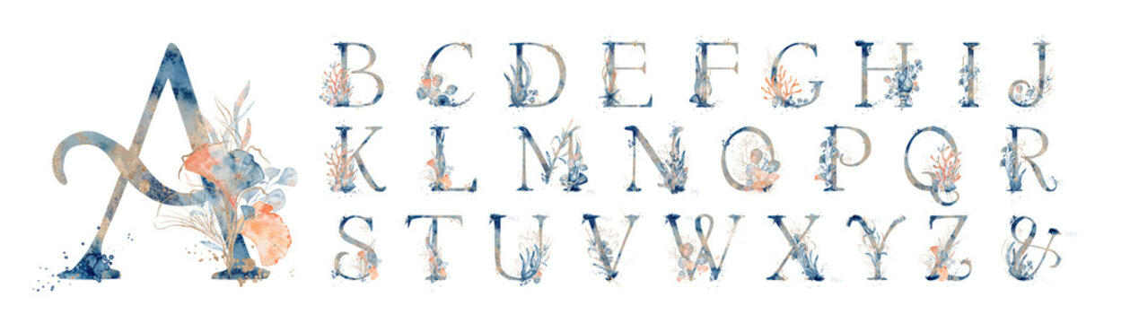 Watercolor blue marine english alphabet set with floral elements from A to Z hand drawn