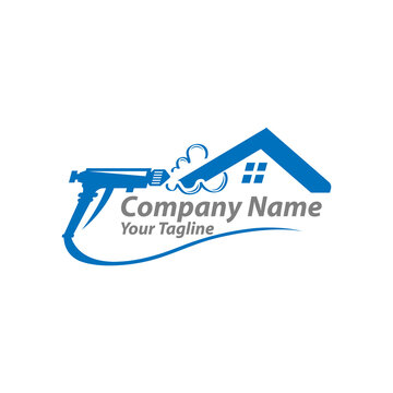 Construction spray foam Insulation logo element. Vector illustration of construction foam icon line isolated on clean background for your web mobile app logo design.