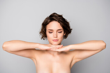 Portrait of minded pensive girl touch chin hands imagine she fashion beauty model for new skin care anti aging procedure to make body fresh ideal soft isolated over gray color background
