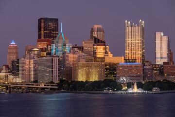 Cityscape of Pittsburgh, Pennsylvania. Allegheny and Monongahela Rivers in Background. Ohio River. Pittsburgh Downtown With Skyscrapers and Beautiful Sunset Sky. No Visible Trademarks
