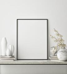 mock up poster frame in modern interior background, close up, living room, Scandinavian style, 3D render, 3D illustration