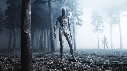 Fototapeta scary monster in fog night forest. Fear and horror. Mistic and ufo concept. 3d rendering.