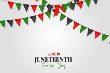 Juneteenth Freedom Day. 19 June African American Emancipation Day. Annual American holiday. Black, red, and green banner background with lettering and bunting flags. Vector illustration.
