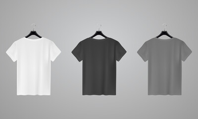 Realistic shirt mock up set. T-shirt template. White, black and gray version, front view.