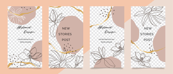 Fotobehang - Social media stories and post creative vector set. Abstract shapes background template with floral and copy space for text and images. Vector illustration.