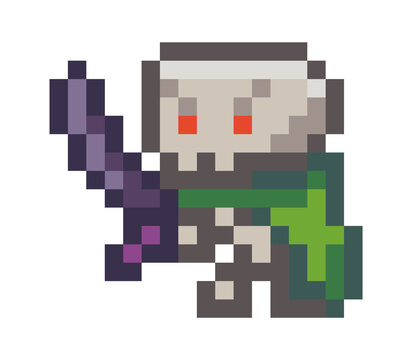 Vector pixel monster. Pixel art style 8-bit. Illustration of pixel character with a sword on white background. Cartoon person to use in a computer game. Minimalistic pixel graphic monster adversary