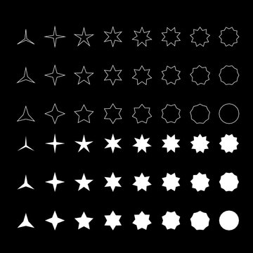 white color different angles pointed stars icon set. 1 to 10 pointed stars icon set. Editable