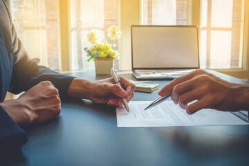 Signing a business contract, businessman agree to make deal signing business contract concept, agreement was signed  business.
