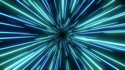 Blue speed light abstract background. Sci-fi tunnel backdrop.