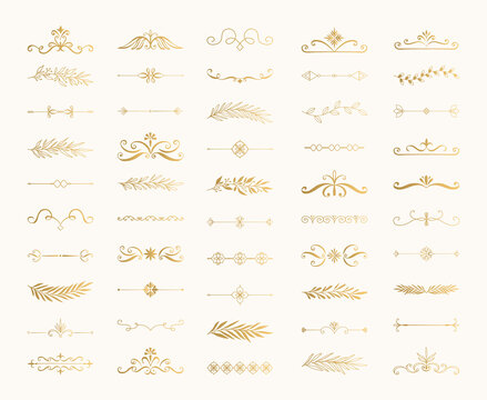 Cute golden design elements. Calligraphic vintage borders. Ink text dividers. Flourish vector illustration.
