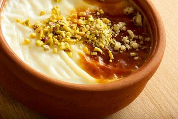 Traditional Turkish Dessert Sutlac. Rice Pudding.