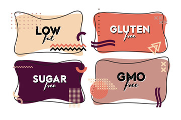Flat linear promotion vector set of labels, badges and stickers on organic, natural and healthy food. Hand drawn lettering on black element. Sugar, fat, gluten free, eco product.