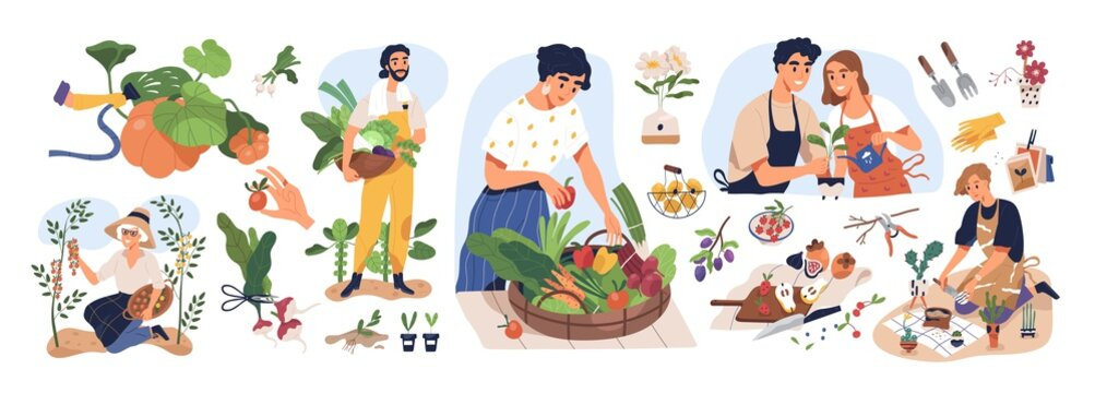 Set of different people enjoy gardening and planting vector flat illustration. Man and woman with fresh vegetables and fruits isolated on white. Farmers and gardeners doing job or agricultural hobby