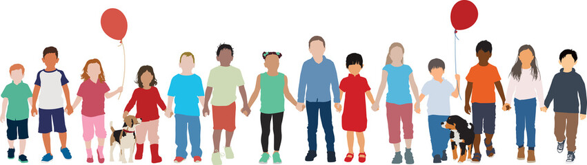 Group of multiethnic children walk together holding hands peacefully vector background