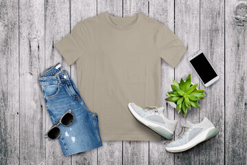 shirt mockup front short with beautiful background. Ready to replace your design Wall mural