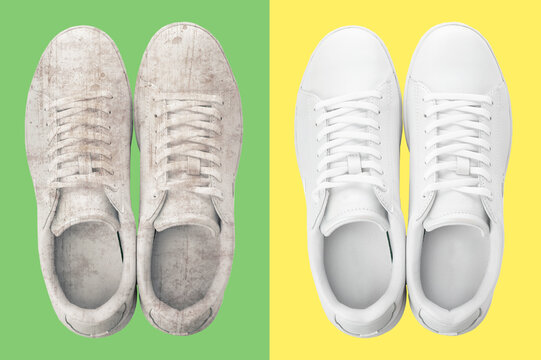 Pair of trendy shoes before and after cleaning on color backgrounds, top view
