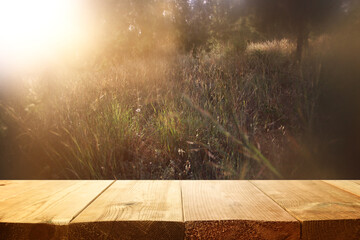 Fototapeten Braun vintage wooden board table in front of dreamy and abstract forest landscape with lens flare.