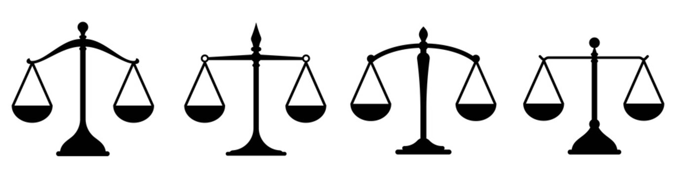 Scale icon. Scales of justice flat icon set.Vintage scale in balance and equilibrium.Vector icon of justice scales collection design.Vector illustration