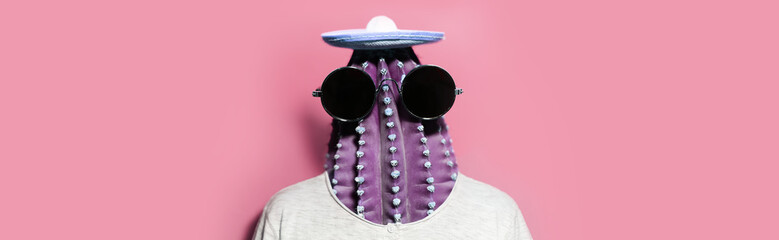 Minimal pop-art collage portrait of cactus-headed man wearing black round shades and mexican hat on background of pastel pink color. Panoramic banner view.