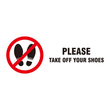 Circle Red Forbidden Sign with Text Please Take Off Your Shoes Template Vector