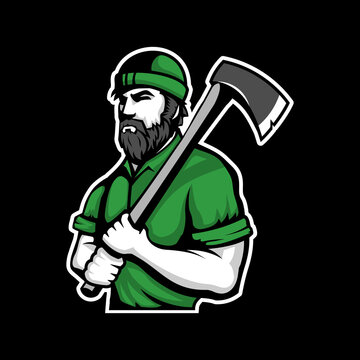 lumberjack logo vector template