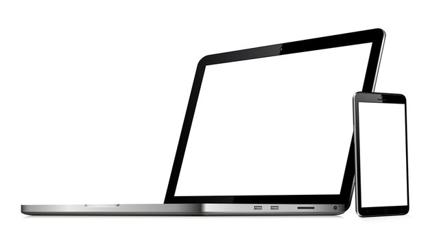 Laptop computer and mobile phone mockups isolated on white background
