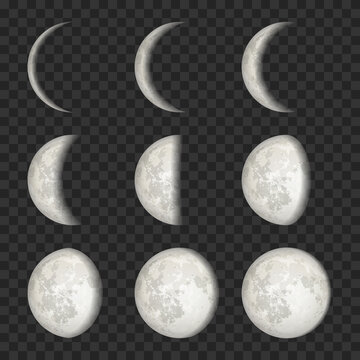 Vector set of Moon phases on transparent background