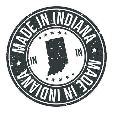 Made In Indiana State USA Quality Original Stamp Design Vector Art Tourism Souvenir Round
