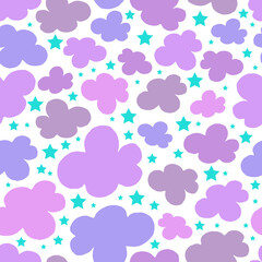 Vector pattern with clouds and stars on the white background. Seamless pattern can be used for wallpaper, pattern fills, web page background, surface textures