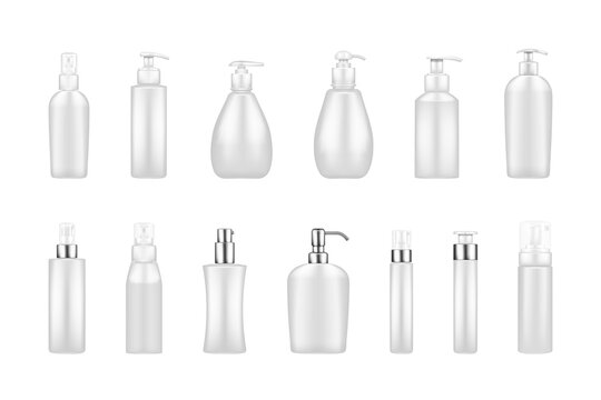Set of white pump bottle mockups: serum, moisturizer, soap, cream, sanitizer. Plastic package design with silver elements. Cosmetic, hygiene template. Set of isolated 3d realistic vector illustrations