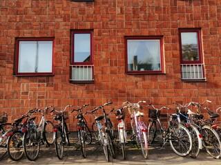 Bikes in a street of Lund, Sweden.