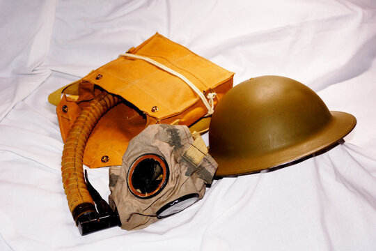 Army helmet and gas mask from World War I.
