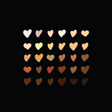 Raised hearts of different race skin color.Vector illustration. hearts with skin color diversity vector background. Black lives matter concept icons, social, national, racial issues symbols.