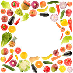 Wall Mural - Delicious and healthy vegetables and fruits in form frame isolated on white