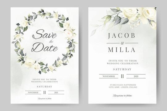 wedding invitation card template set with white rose bouquet wreath leave watercolor painting