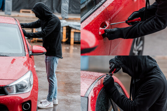 Collage of robber in mask using screwdriver while opening door of auto on urban street