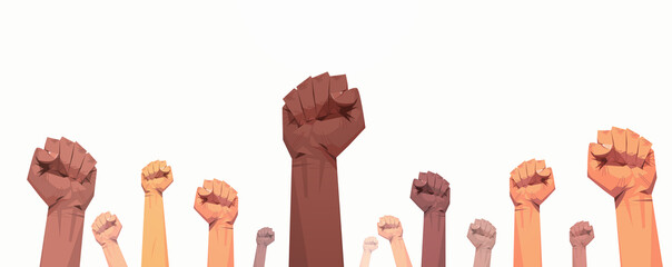 black lives matter raised up mix race fists awareness campaign against racial discrimination of dark skin color support for equal rights of black people horizontal vector illustration Fotobehang