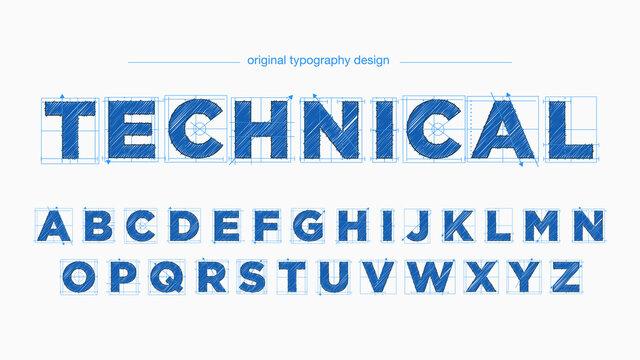 Blue Modern Architectural Blueprint Text Style