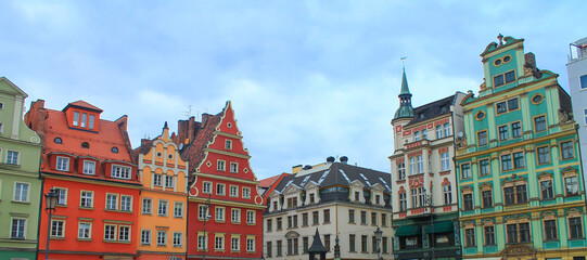 Wall Murals Architecture view of the vibrant old town in Wroclaw, Poland.