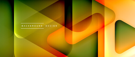 Triangle shapes geometric abstract background. 3D shadow effects and fluid gradients. Modern overlapping forms wallpaper for your text message